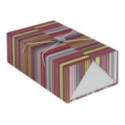 Coffret rectangle bouton bois coloris gris/rayures
