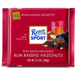 Tablette de chocolat aux lait, rhum, raisins et noisettes Ritter Sport