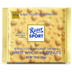 Tablette de chocolat blanc noisettes entières Ritter Sport