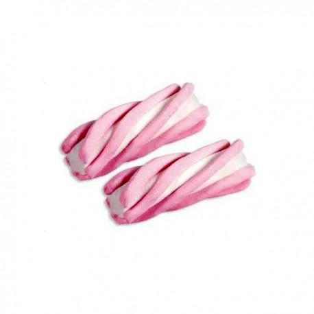 Guimauves torsadées rose et blanches